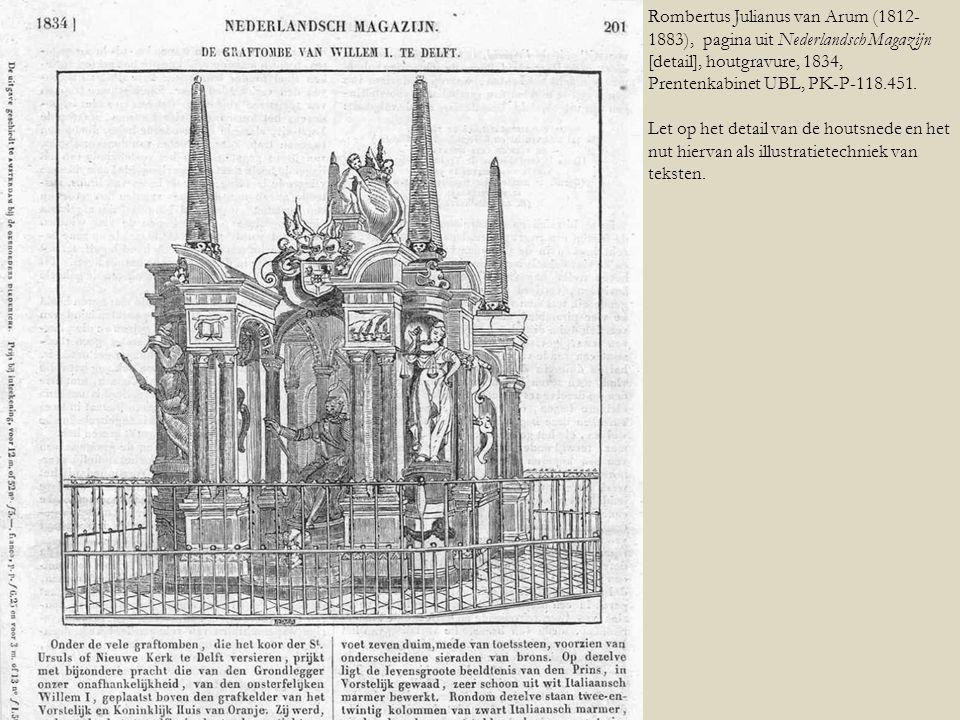 Rombertus Julianus van Arum (1812-1883), pagina uit Nederlandsch Magazijn [detail], houtgravure, 1834, Prentenkabinet UBL, PK-P-118.451.
